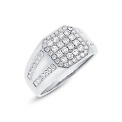 Mens 1.15ct 14k White Gold Natural Diamond Mans Right Hand Cocktail Octagon Ring