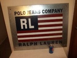 Vtg Large Polo Jeans Company Rl Flag Galvanized Metal Store Sign