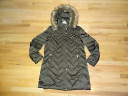 New Womens Kenneth Cole Long Down Puffer Jacket Coat Olive Green XXL Faux Fur