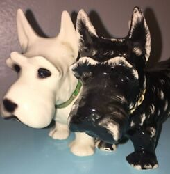 Vintage Scottie Dog SCOTTISH TERRIER Statue Black & White Pair of Dogs GERMANY