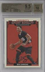 2016 Goodwin Champions Goudey Sport Royalty Ben Simmons Bgs 9.5 Rookie Auto