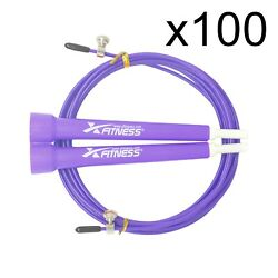 Lot Of 100 Purple Speed Wire Adjustable Jump Rope For Cardio Crossfit Boxing Gym