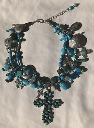 ❤turquoise❤gorgeous Designer Sterling Cross Necklace Loaded Vintage Charms Cross