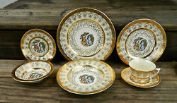 77-piece Set For 8+ Of La Petite Pat. Lp17 Gold Filigreed And Encrusted China