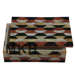 Marble Inlay Jewelry Box Mosaic Vintage Jewellery Boxes Octagon Antique Jb75