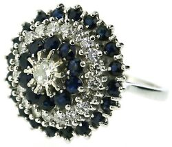 18carat 18ct White Gold Diamond Sapphire Cluster Rings Size M 1/2 Four Tier