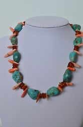 Antique Vintage Native American Sterling Silver Turquoise Coral Amber Necklace