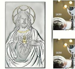 Painting Sacred Heart Of Jesus Cm.23x14 Slab Silver 925 And Gold 1704/23d