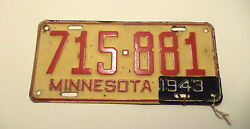 Vintage 1942 43 Wwii Era Minnesota License Plate Tag 715-881 Expired With Tag