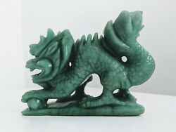 Pure Green Jade - Hand Carved Dragon Sculpture