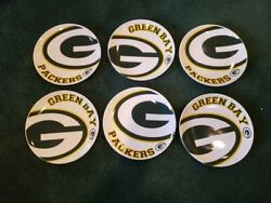 Gorgeous Set Of 6 Green Bay Packers Memory Company Dinner Plates, Mint