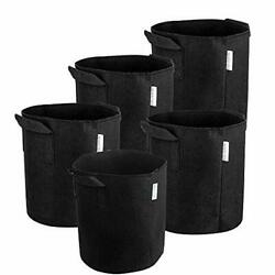 MELONFARM 5-Pack 2 Gallon Plant Grow Bags - Smart Thickened Non-Woven Aeration F