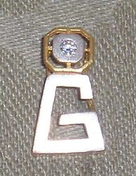 Vintage 0.4kt Diamond 22kt Solid Yellow And White Gold Initial Letter G Pendant