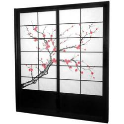 7 Ft 2 Panel Shoji Sliding Door Kit Cherry Blossom Privacy Home Decor Black New