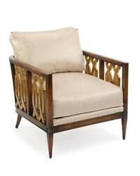 28 W Occasional Chair Solid Wood Frame Gold Accents Side Panels Fabric Cushions