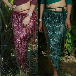 2021 Belly Dance Skirt Egyptian Triangle Hip Scarf Fringe Shawl Wrap Skirt Sexy