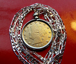 Antique 1883 Gold Plated No Cents Nickel Pendant W 3mm Italian Silver Chain