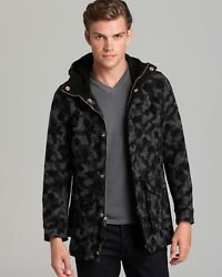 Classic Monitaly Hooded Wool Camo / Camouflage Black And Gray Men's S Parka 745