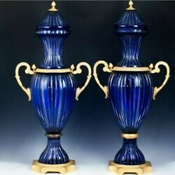 A PAIR OF FRENCH DORE BRONZE CRYSTAL BLUES