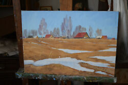 Antique 1994 Original Russian Painting Oil On Canvas Sergey G.