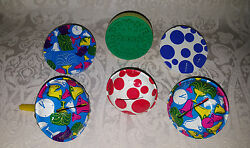 Lot Of 6 Round Vintage Tin Lithograph Noise Makers Clown Us Metal Toy Usa