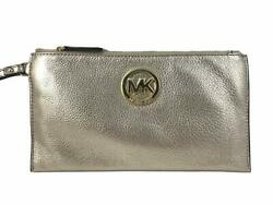 NWT Michael Kors Fulton Large Leather Top Zip Clutch Wristlet in Pale Gold $48.00
