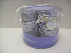 20 MINI Favors WHITE METAL PAILS Shower Favor with Ribbon 2 INCH BUCKET NEW $17.95