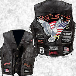 Mens Black Leather Motorcycle Vest Waistcoat With 14 Biker-style Patches Jacket