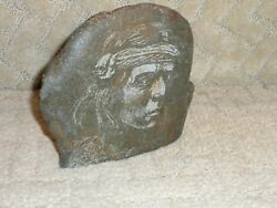 Native American Signed Hand Etched Stone Art Paperweight Bookend Apache Warrior