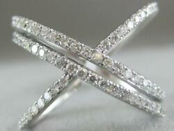 Estate Large Pave Diamond 14k Gold Double X Crossover Cocktail Ring 16mm R5196dw