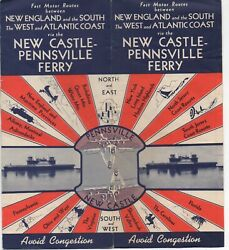 1950s Advertising Brochure With Color Map New Castle Pennsville Ferry