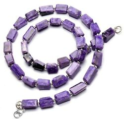 Natural Gem Super Rare Charoite Faceted Freeform Nugget Beads Necklace 19 176ct