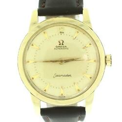 Vintage 1950s Omega Seamaster Gx6546 14k Yellow Gold Champagne Dial Watch