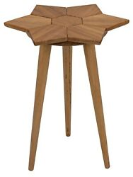 26 T Set Of 2 Flower Side Table Hand Crafted Golden Teak Solid Exotic Wood