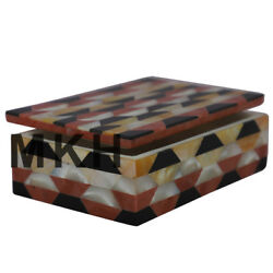 Marble Jewelry Box Mosaic Vintage Inlay Jewellery Boxes Octagon Antique Art Jb75