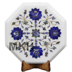 Trivet Marble Cheese Platter Wall Plate Inlay Gems Stones Vintage Marquetry Gift