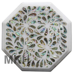 Trivet Cheese Platter Wall Plate Marble Inlay Gems Stones Vintage Marquetry Gift