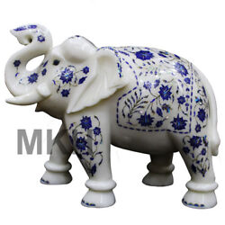 Marble Elephant Inlay Figurine Statue Lucky Décor Trunk Carved Vintage Marquetry