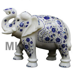 Marble Elephant Inlay Figurine Statue Lucky Dandeacutecor Trunk Carved Vintage Marquetry