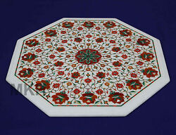 Marble Coffee Table Indian Inlay Stone Artwork Mosaic Antique Vintage Design