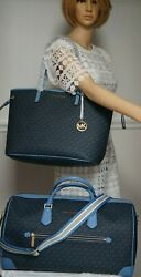 NWT MICHAEL KORS TRAVEL Weekender & Matching TOTE Bag In FRENCH BLUE MK Sig PVC