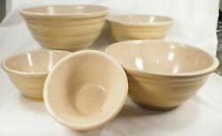 5 Yellow Nesting Mixing Bowls Pfaltzgraff Pottery Vintage Mid Century Tanware