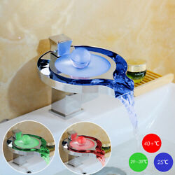 Led Sink Faucet Unique Brass Waterfall Bathroom Basin Mixer Tap Chrome