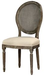 20 W Dining Chair Hand Turned Legs Solid Oak Frame Rattan Round Back Linen Seat