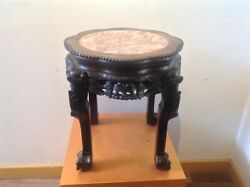 Antique Chinese plant stand, heavy Finely carved hardwood, Marble pot stand