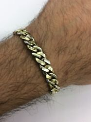 14kt White And Yellow 2 Tone Gold Cuban Link Menandrsquos Bracelet 8andrdquo