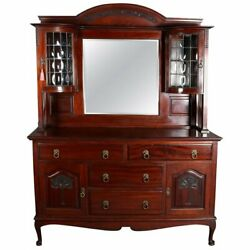 Belgian Carved Walnut Tree Of Life Court Cupboard, Bubble Glass, 19th Century