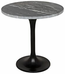 20 T Set Of 2 Alec Side Table Smooth Polished Solid Marble Top Metal Tulip Base