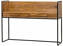 60 W Lawerence Privacy Desk Hand Crafted Solid Walnut Wood Black Metal Frame