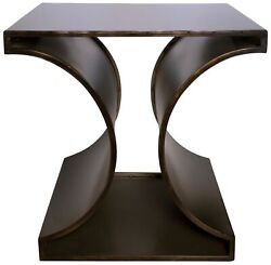 24 T Set Of 2 Side Table Black Metal Contemporary Industrial Hourglass Styling